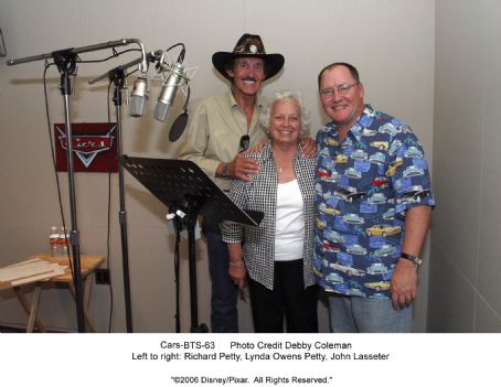 Richard Petty Studio Stills photos of Cars: (Left to right) , Lynda Owens Petty, John Lasseter