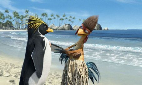Surf's Up Cody Maverick (voiced by Shia LaBeouf, left) and Chicken Joe (voiced by Jon Heder, right) in Columbia Pictures/Sony Pictures Animation's Surf's Up.