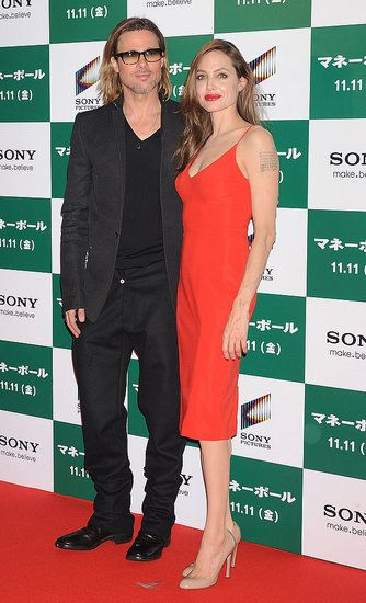 Brad Pitt and Angelina Jolie Show Love at His Japanese Moneyball Premiere