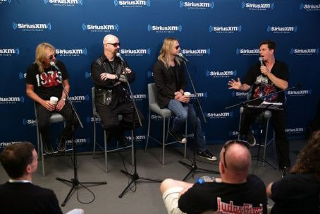 Jim Breuer Glenn Tipton, Rob Halford and Richie Faulkner of the band Judas Priest along with host  attend SiriusXM's Town Hall series with Judas Priest on July 8, 2014 in New York City.