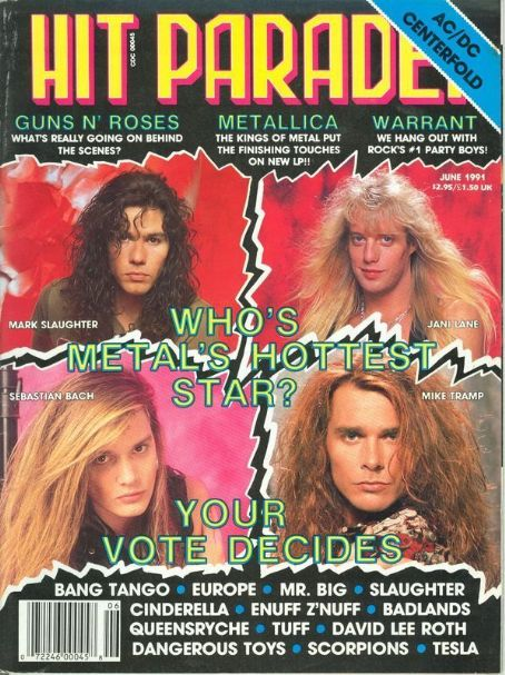 Sebastian Bach, Jani Lane, Mike Tramp, Mark Slaughter - Hit Parader Magazine Cover [United States] (2 July 1991)