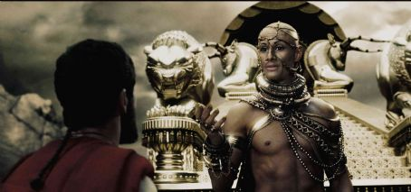 Xerxes  (RODRIGO SANTORO) attempts to ply Leonidas (GERARD BUTLER) with promises of wealth and power contingent upon the surrender of the Spartan troops in Warner Bros. Pictures', Legendary Pictures' and Virtual Studios' action drama &#82