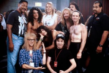 Tom Hamilton Mike Myers, Dana Carvey and Aerosmith Band in Wayne's World 2 (1993)