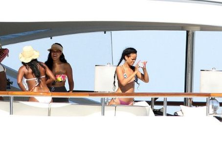 Rihanna on her yacht on vacation in Saint Tropez in the French Riviera