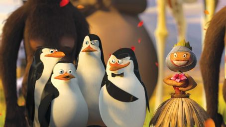 "Tom McGrath (Left to right) Penguins Rico, Private (CHRISTOPHER KNIGHTS), Kowalski (CHRIS MILLER) and the Skipper (TOM McGRATH)—along with the Skipper's traveling companion—admire their handiwork in DreamWorks' ""Madagascar: Escape 2 Afri"