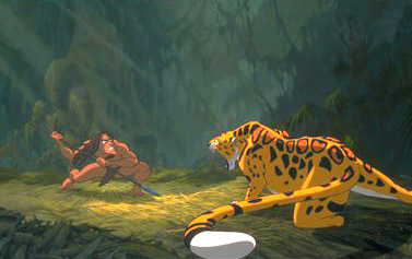 Tarzan  faces off with the deadly Sabor in Disney's  - 1999