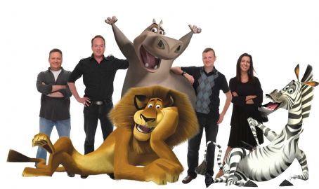 "Tom McGrath (Left to right) The filmmakers—and some of the zoosters—from ""Madagascar: Escape 2 Africa"" are directors ERIC DARNELL and TOM McGRATH; Alex the lion (seated, as voiced by BEN STILLER); Gloria the hippo (standing, as voiced by JADA"