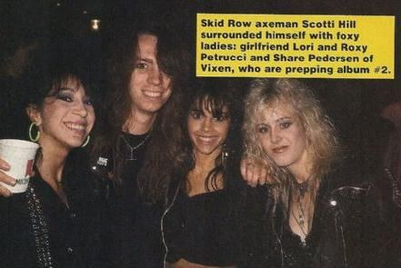 Share Pedersen Scotti Hill with girlfriend Lori at the MTV Music Awards in 1989 with share Pedersen and Roxy Petrucci of Vixen