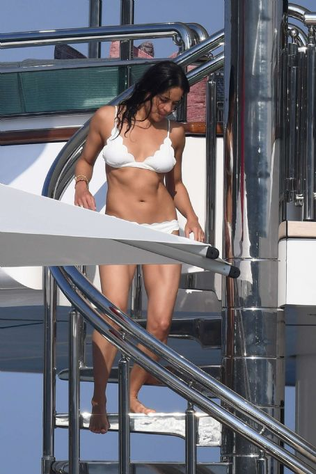 Michelle Rodriguez in Bikini on a yacht in Sardinia
