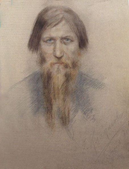 Grigory Rasputin Drawing of Rasputin by Jelena Nikandrovna Klokatsjeva in State Hermitage Museum