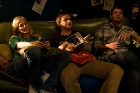 Sylvia (Tricia O'Kelley), Byron (Patrick J. Adams) and Walt (Ryan Devlin) in the scene of  'Weather Girl'.