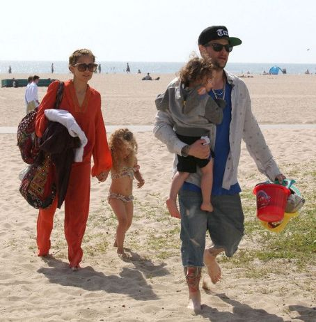 Nicole Richie and husband Joel Madden spending a day on the beach with their kids Harlow and Sparrow in Santa Monica, California on April 9, 2012