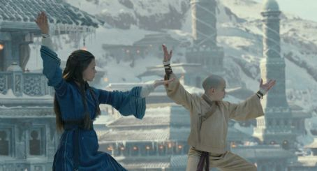 Noah Ringer Left to right: Nicola Peltz plays Katara and  plays Aang in the Paramount Pictures/Nickelodeon Movies adventure, 'The Last Airbender.' Photo credit: Industrial Light & Magic. Copyright © 2010 Paramount Pictures Corporation. All Rights R