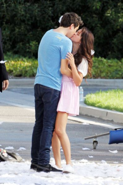 "Selena Gomez shares a on screen kiss with her co star Nat Wolff while filming for ""Parental Guidance"" in Sherman Oaks"