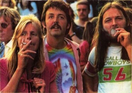 Paul and Linda McCartney with David Gilmour