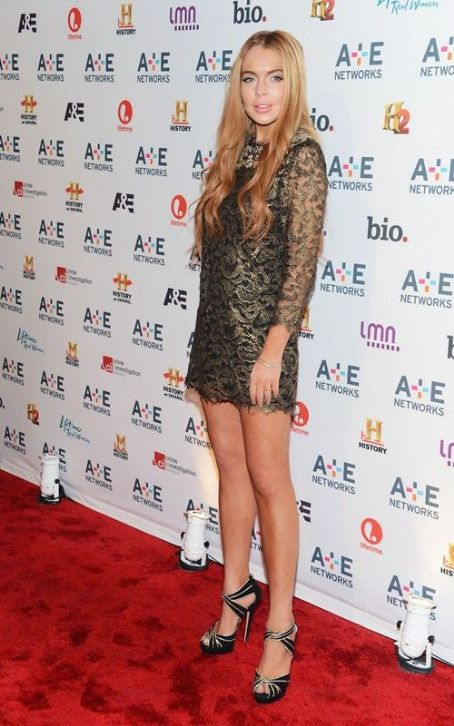 Lindsay Lohan Steps Out for A&E Networks' 2012 Upfront