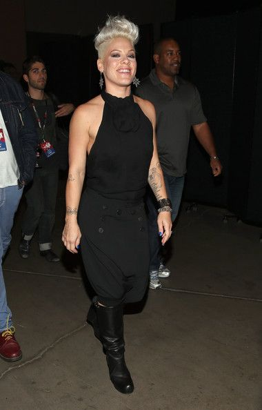 Pink: appears backstage during the 2012 iHeartRadio Music Festival at the MGM Grand Garden Arena