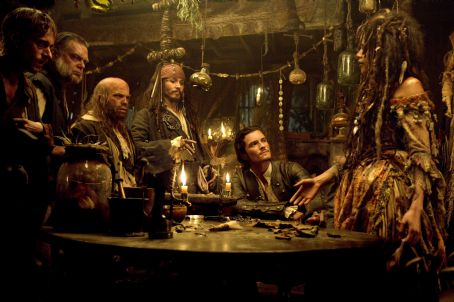 Kevin McNally MacKenzie Crook as Ragetti,  as Gibbs, Lee Arenberg as Pintel, Johnny Depp as Jack Sparrow, Orlando Bloom as Will Turner and Naomie Harris as Tia Dalma in Walt Disney Pictures' Pirates of the Caribbean: Dead Man's Chest - 2006