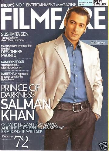 Salman Khan - Filmfare Magazine [India] (26 November 2008)