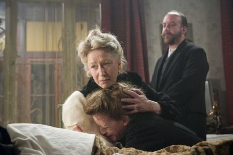 Left to Right: Helen Mirren as Sofya Tolstoy, Anne-Marie Duff, and Paul Giamatti. Photo taken by Stephan Rabold, Courtesy of Sony Pictures Classics.