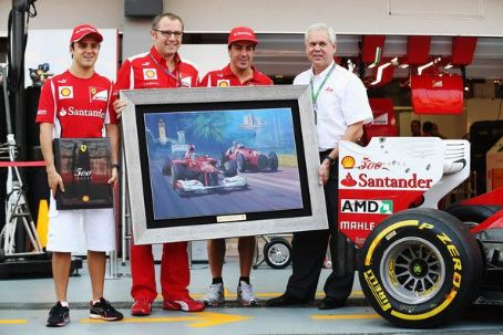 Mark Williams (L-R) Felipe Massa of Brazil and Ferrari, Ferrari Team Principal Stefano Domenicali, Fernando Alonso of Spain and Ferrari and Shell Downstream Director  attend a presentation celebrating Shells 500th race in partnership with Ferrari before qu