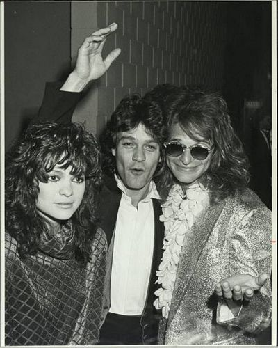 Eddie Van Halen and Valerie Bertinelli with David Lee Roth