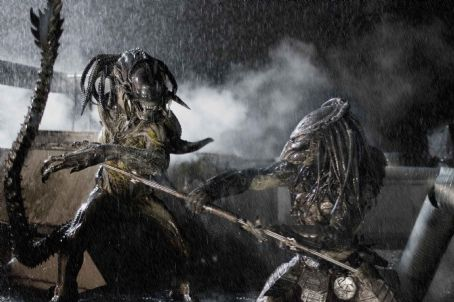 AVPR: Aliens vs Predator - Requiem (l to r) The PredAlien and a Predator face off in Aliens vs Predator- Requiem. Photo credit: James Dittiger.