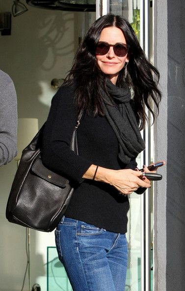 Courteney Cox browses for lighting solutions at a lamp store on Melrose Avenue