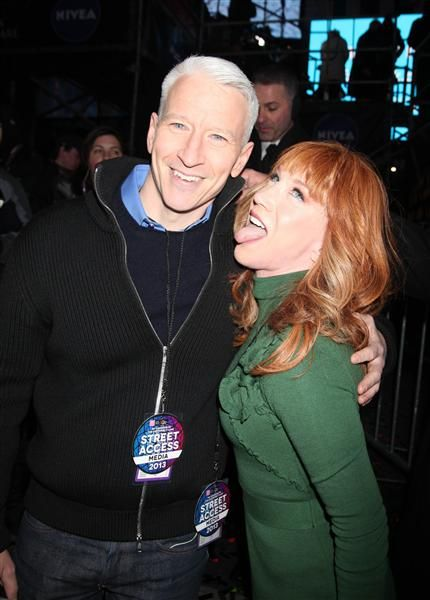 Anderson Cooper and Kathy Griffin celebrate 2013 by getting silly in Times Square on Dec. 31, 2012, in New York