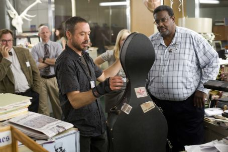 Stephen Root  (far left) stars as Curt, Robert Downey Jr. (center) stars as Steve Lopez and Kokayi Ampan (right) stars as Bernie in the drama 'The Soloist.' Photo Credit: Francois Duhamel. Copyright (c) 2009 DW STUDIOS L.L.C. and UNIVERSAL STUDIOS.