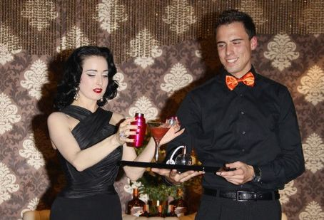 Dita Von Teese is seen at the launch party of My Cointreau Travel Essentials in Milan