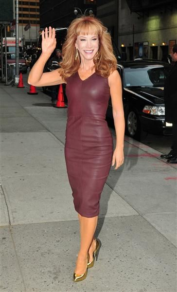 "Kathy Griffin arrives at the Ed Sullivan Theater for a taping of ""The Late Show With David Letterman"" in New York on Jan. 3, 2013"