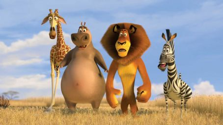 Melman (Left to right)  the giraffe (DAVID SCHWIMMER), Gloria the hippo (JADA PINKETT SMITH), Alex the lion (BEN STILLER) and Marty the zebra (CHRIS ROCK) get their first glimpse of the African savanna and its thousands of inhabitants in DreamWorks'