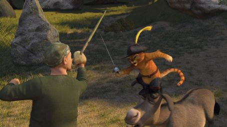 Puss in Boots Puss In Boots (ANTONIO BANDERAS) and Donkey (EDDIE MURPHY) square off with one of Captain Hook's pirates in DreamWorks' SHREK THE THIRD, to be released by Paramount Pictures in May 2007.  DreamWorks Animation S.K.G. Presents a PDI/DreamWorks P