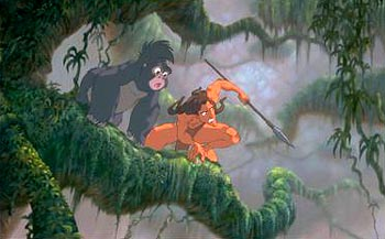 Tarzan  and his gorilla friend Terk in Disney's  - 1999