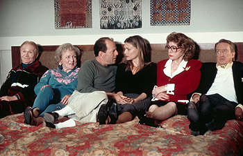 Jayne Meadows Red Buttons, Betty White, Bruce Willis, Michelle Pfeiffer,  and Tom Poston in Universal's The Story Of Us - 10/99