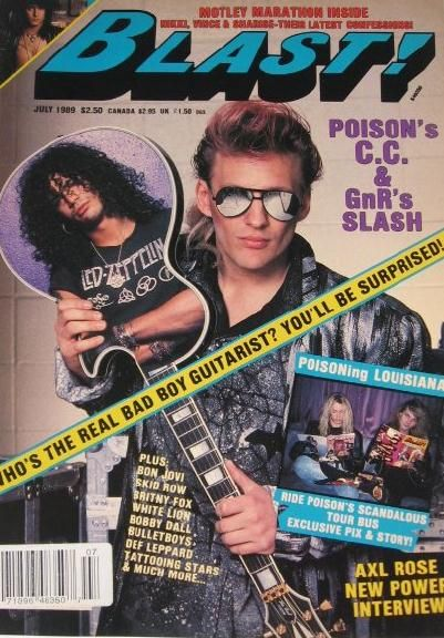 Slash, C.C. Deville - Blast! Magazine Cover [United States] (July 1989)