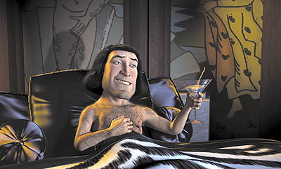 Lord Farquaad (John Lithgow) dreams of his royal bride to be in Dreamworks' Shrek - 2001