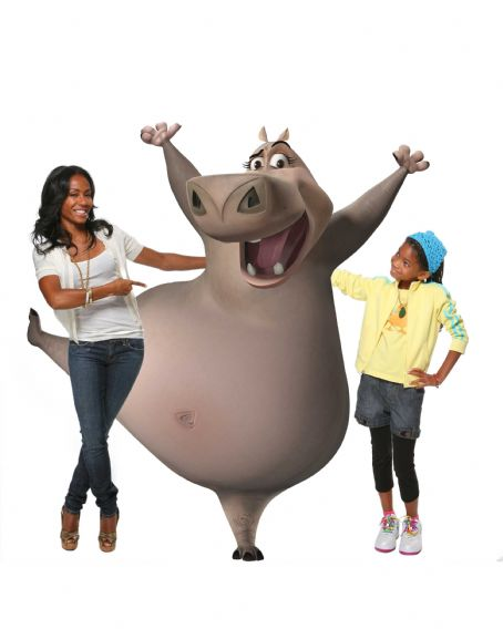 "Willow Smith JADA PINKETT SMITH voices Gloria the hippo and WILLOW SMITH voices the young Gloria in DreamWorks' ""Madagascar: Escape 2 Africa."" Photo credit: Lucian Capellaro. Madagascar: Escape 2 Africa ™ & © 2008 DreamWorks Animation L.L.C. All Righ"
