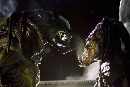 AVPR: Aliens vs Predator - Requiem The PredAlien and a Predator face off in Aliens vs Predator- Requiem. Photo credit: James Dittiger.