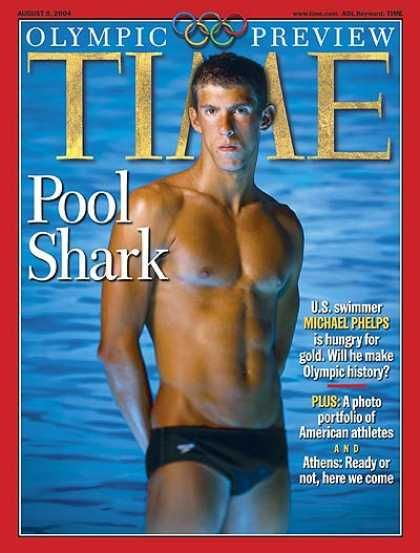 Michael Phelps - Time Magazine [United States] (9 August 2004)