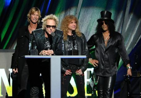 Inductees (L-R) Matt Sorum, Steven Adler, Duff McKagan and Slash of Guns N? Roses pose in the press room during the 27th Annual Rock And Roll Hall of Fame Induction Ceremony at Public Hall on April 14, 2012 in Cleveland, Ohio