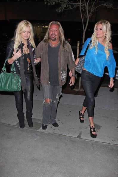 Rain Andreani Vince Neil with Rain and Markie arriving at BOA steakhouse in West Hollywood..
