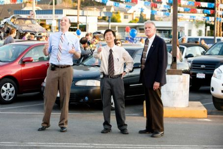 "(Left to right) It's a do or die weekend at Selleck Motors and everyone, including longtime salesmen Wade Zooha (Tony Hale), Teddy Dang (Ken Jeong) and Dick Lewiston (Charles Napier) know it, in the comedy ""The Goods: Live Hard. Sell Hard.&#82"