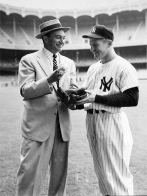 Mickey Mantle Mickey with Yankee Broadcaster Mel Allen