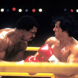 Rocky Balboa Sylvester Stallone as  and Carl Weathers as Apollo Cread in Rocky (1976)