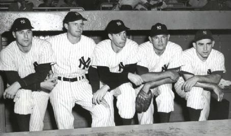 New York Yankees Vic Raschi, Tommy Henrich, Joe DiMaggio, Allie Reynolds & Yogi Berra