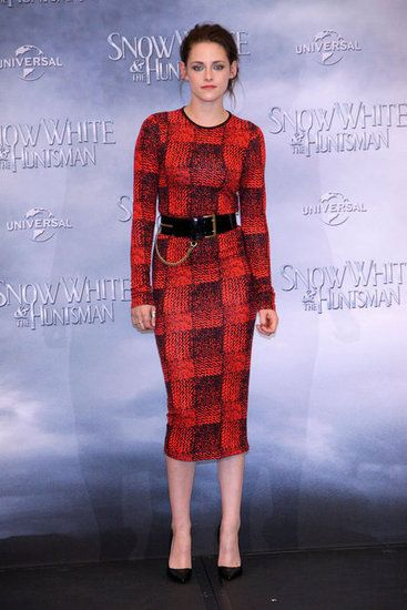 Kristen Stewart Bring SWATH to Germany  in a Plaid Dress
