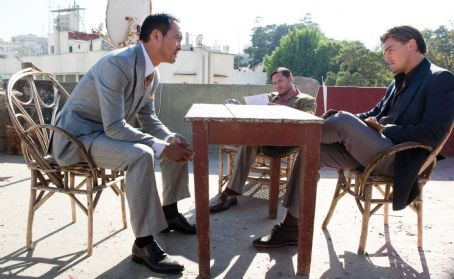 "Ken Watanabe - (L-r) KEN WATANABE as Saito, TOM HARDY as Eames, and LEONARDO DiCAPRIO as Cobb in Warner Bros. Pictures' and Legendary Pictures' sci-fi action film ""INCEPTION,"" a Warner Bros. Pictures release. Photo by Stephen Vaughan"
