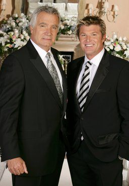 John McCook Winsor and John on the set of The Bold and The Beautiful